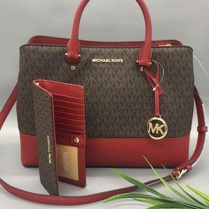 MK Savannah LG Satchel Scarlet & Flt Slim wallet